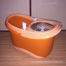 Dual Function System for Spin Washing and Drying Rolling Spin Mop with 3 Microfiber Mop Heads