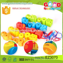 2016 hot sale educational cube toys wooden colorful diy bead toy
