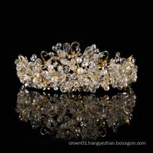 Handmade Wholesale baroque princess bride pageant diamond Pearl rhinestone tiara Glass beads pearl Gold crystal beaded crown