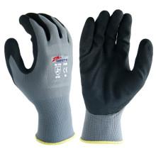 Lightweight 13 Gauge Polyester Shell Palm Finger beschichtete schwarze Sandy Nitril-Handschuhe für allgemeine Zwecke