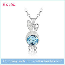 2015 Alibaba Animal Jewelry, Sliver Chain Collier Pour Enfants Crystal Easter Bunny Rabbit Pendant Necklace