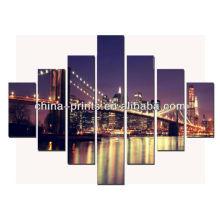 Schöne Stadt-Nachtansicht des Brooklyn-Brücken-Segeltuch-Druckens