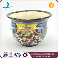 YSfp0009-01 Maceta de flores ornamentales de forma redonda con diseño de impresión a mano