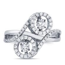18k White Gold Dancing Diamond Micro Setting Ring Jewelry