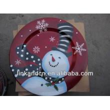 Placas planas de porcelana de muñeco de nieve amistosas redondas