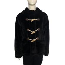 Manteau en fausse fourrure de vison à capuche pour femme