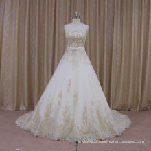 French Lace Scalloped Neckline A-Line Bridal Dress