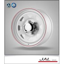 Trailer Rad in Weiß Finish mit rotem Streifen Stahl Auto Räder Felge