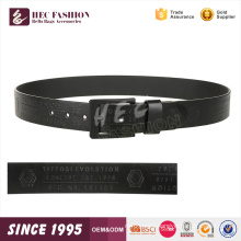 HEC Wenzhou Wholesale Black Letter Printed Simple Square Buckle Leather Belt