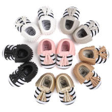 Moda raya borlas zapatos de bebé infantil infantil mocasines suave suela