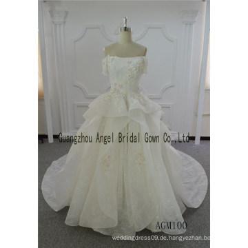 Elfenbein Brautkleid Ballkleid Spitze lange Zug Kleid Kleid
