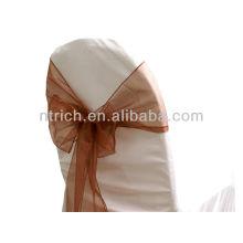Schokolade, ausgefallene Mode Kristall Organza Stuhl Schärpe Krawatte zurück, Fliege, Knoten, Hochzeit Stuhlabdeckung und Tischdecke