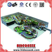 Equipo de patio de recreo infantil comercial grande con tobogán