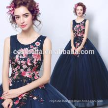 Neue Ankunfts-Marine-blaues Ballkleid-Oberseiten-Weinlese-langes Abend-Kleid Vestido De Festa elegante formale Kleider