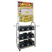 Qualität gesicherte Metallboden Standing 3-Tier-Werbung Blei Säure Automotive Batterie Display Rack