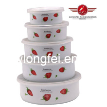 204D 5PCS New Style Enamel Bowl Storage Bowls with Beautiful Decal