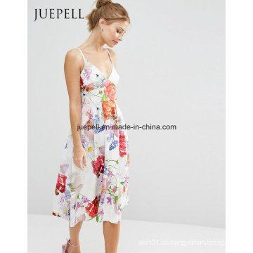 Blumendruck Sexy MIDI Frauen Kleid