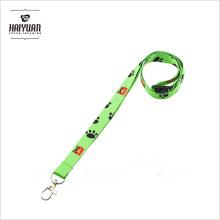 Lindo personalizado de color verde plana poliéster impreso cordón con el logotipo de transferencia de calor Liberación de seguridad