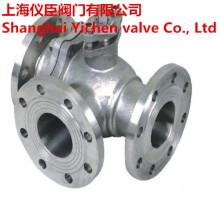 Stainless Steel CF8m Three Way Flanged Ball Valve