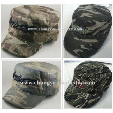 Gorra militar de algodón bordado con tapa plana de camuflaje
