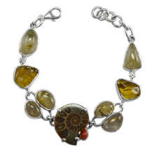 Amber Coral Rutilated Quartz & Ammonite Gemstone with 925 Sterling Silver Bracelet