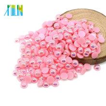 Hohe Qualität 10mm halb geschnittene flache Rückseite Craft Pearls in Bulk für Bekleidungszubehör, A8-Pink AB