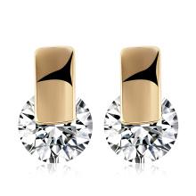 Beautiful Jewelry Platinum Zircon Earrings Round Design for Women