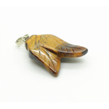 Double leaves Shape Yellow Tiger eye pendant