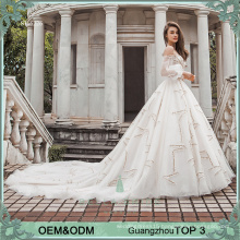2017 Newest model beige weding dress fashion design latern sleeves portrait neck wedding dress