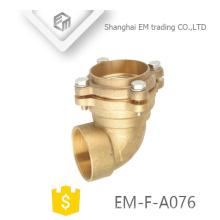 EM-F-A076 Latão curto raio cotovelo flange tipo rosca macho encaixe de tubulação