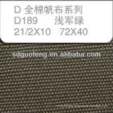 100% C 21/2*10 72*40 waterproof tent cotton canvas fabric