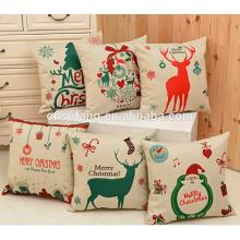 2017 großhandel billig frohe Weihnachten gedruckt coussin kissenbezüge personalisierte designs kissenbezüge