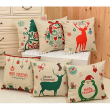 2017 en gros pas cher joyeux Noël imprimé coussin coussin couvre des dessins personnalisés oreiller couvre