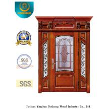 Puerta de seguridad estilo europeo con espeleología y vidrio y hierro (B-9010)