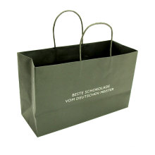 Custom Logo Printed Clothes Shopping Packing Glossy Black Color Paper Bag With Twisted Rope Handle