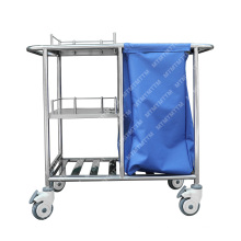 Hospital solid cleaning 304 stainless steel  linen trolley nursing trolley