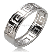 new arrival electroplating silver hollow stand metal latest design vogue jewellery bangle