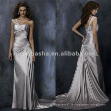 Ein-Schulter-Criss-Cross-Rüschen-Mieder-Satin A-line-Hochzeitskleid / Abendkleid