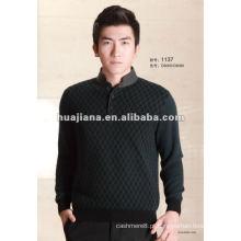 Camisola de inverno de cashmere masculina de luxo de qualidade