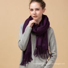 Vente chaude promotionnelle hiver chaud nouvelle arrivée couleur violette écharpe en cachemire