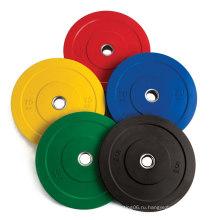 Весовые пластины весом от 5 кг до 25 кг Цветные резиновые олимпийские олимпийские бамперы