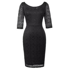 Kate Kasin Women 3/4 Sleeve Crew Neck Hips-Wrapped Black Lace Bodycon Pencil Dress KK000506-1