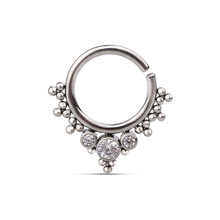 ASTM F136 Implant Grade Titanium Beaded Zirconia Gem Stone Seamless Nose Piercing Body Jewelry
