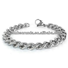 High Polish Stainless Steel Mens Curb Chain Bracelet 8.5 Inch Steel Color jewelry