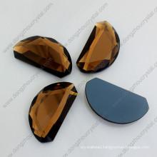 Brown Moon Shape Mirror Glass Flat Back Loose Jewelry Stones