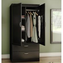 Armario negro de almacenaje de diseño para dormitorio con cajones.