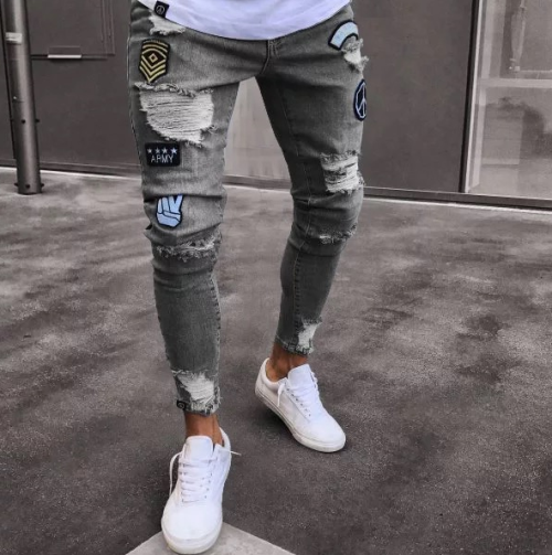 Mens Hot Selling Elastic Multi-hole Slim Fit Denim Jeans
