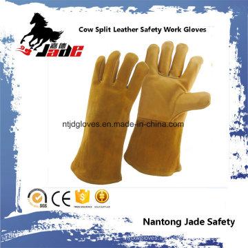 Guante de trabajo de seguridad de soldadura industrial de cuero de vaca