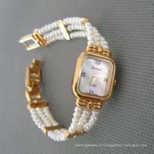 Montre de perle véritable, montre à perles d'eau douce (WH108)