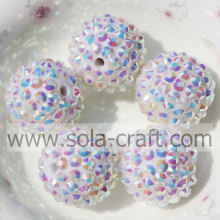 Sparking White AB 20*22MM Resin Rhinestone Ball Beads for Kids Necklace